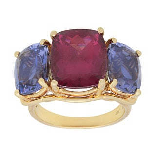 Pre-owned 18k Yellow Gold Tourmaline and Tanzanite Estate Ring