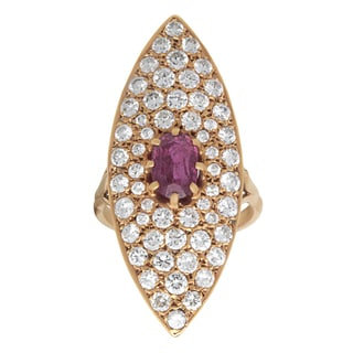 18k Yellow Gold 3ct TDW Pave-set Diamond Ruby Cocktail Ring (F-G, SI1-SI2)