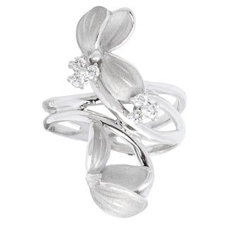 Pre-owned 18k White Gold 1/5ct TDW Diamond Floral Vine Estate Ring (G-H, SI1-SI2)