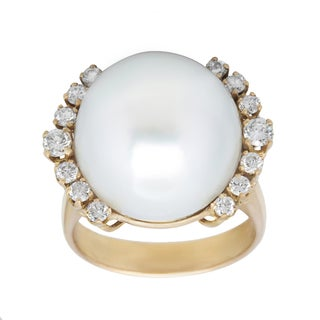 Pre-owned 18k Yellow Gold 1/2ct TDW Diamond and Giant Pearl Estate Cocktail Ring (G-H, VS1-VS2) (16-17 mm)