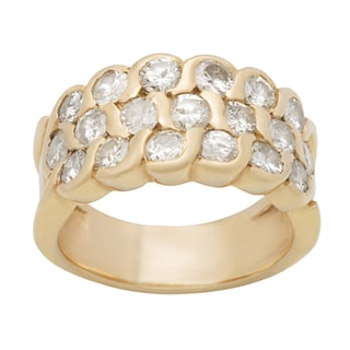 Pre-owned 14k Yellow Gold 3ct TDW Clustered Diamond Estate Ring (I-J, SI3)