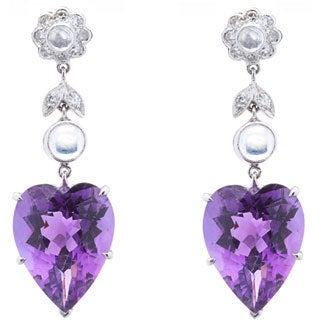 Pre-owned 18k White Gold 1/4ct TDW Diamond, Moonstone and Heart-cut Amethyst Estate Earrings (H-I, SI1-SI2)
