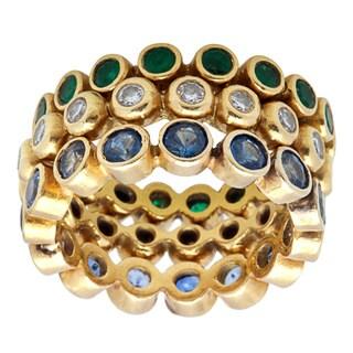 Pre-owned 18k Gold 1/2ct TDW Diamond Gemstone Stackable Eternity Ring Set (I-J, I1-I2) (Size 6)