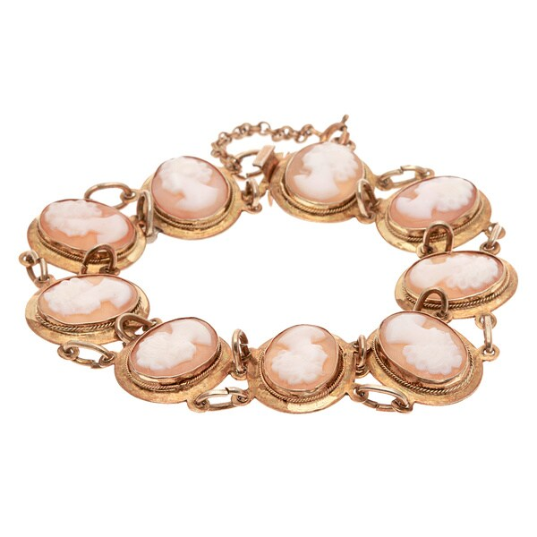 Pre-owned Gold over Silver Cameo Links Estate Bracelet