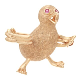 Pre-owned 14k Yellow Gold Estate Duckling Brooch