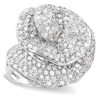 14k White Diamond 4ct TDW Diamond Pave Flower Rose Ring (H-I, I1-I2)