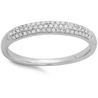 10k White Gold 1/6ct TDW Round Diamond Anniversary Wedding Band Ring (I-J, I2-I3)