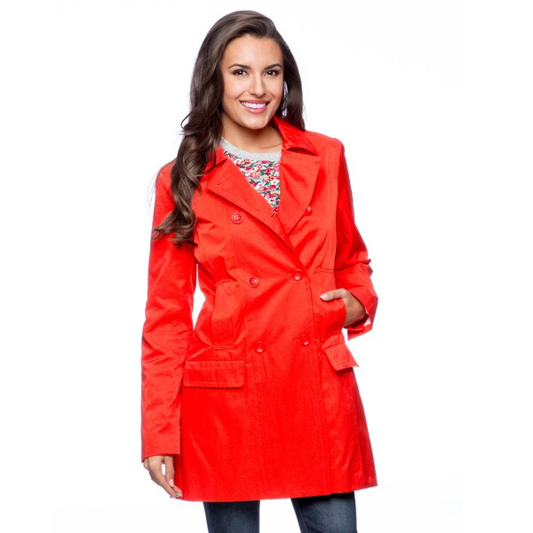 Orange Women's Nine West Double Breasted 4-pocket 3/4 Length Jacket (As Is Item)