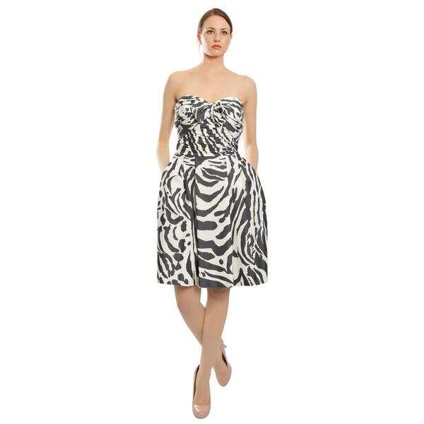 Escada Striking Zebra Print Ruched Silk Bow Accent Cocktail Evening Dress
