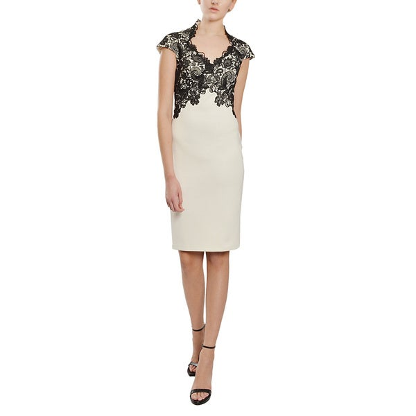 Tadashi Shoji Elegant V-neck Cap Sleeve Lace Contrast Cocktail Party Dress