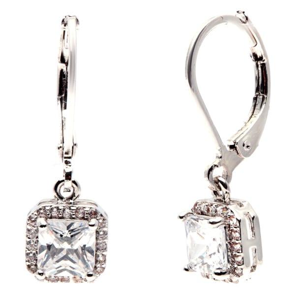 Simon Frank Silvertone Brass Princess-cut Cubic Zirconia Drop Earring
