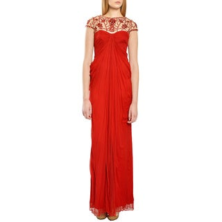 Tadashi Shoji Festive Red Draped Beaded Illusion Top Jewelneck Evening Gown Dress