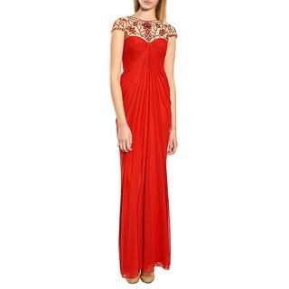 Tadashi Shoji Festive Crimson Illuminating Beaded Illusion Evening Gown Dress