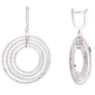 Simon Frank Silvertone Brass Cubic Zirconia Drop Earrings