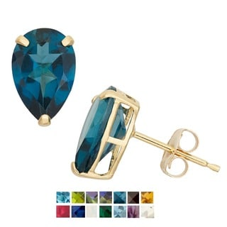 10k Yellow Gold Birthstone Stud Earrings