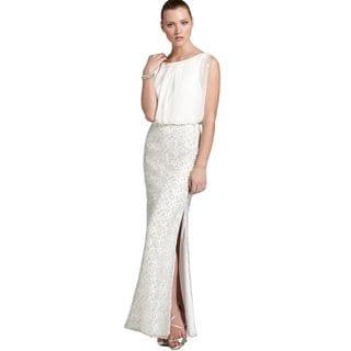 Aidan Mattox Women's Ivory Chiffon Blouson Gown