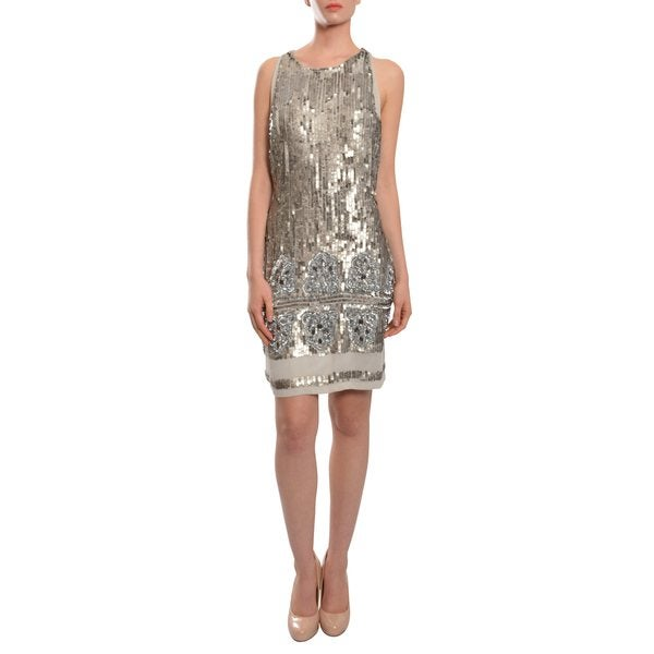Aidan Mattox Dramatic High Shine Silver Sleeveless Sequin Cocktail Party Dress