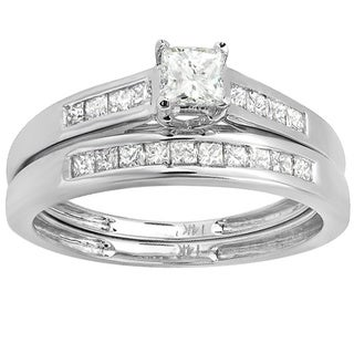 14k White Gold 1ct TDWPrincess Diamond Ladies Bridal Ring Engagement Set