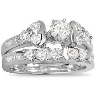 14k White Gold 1 1/2ct Diamond Bridal Engagement Ring Set