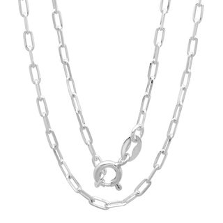 Sterling Essentials Sterling Silver Boston Link Chain Necklace (2 mm)