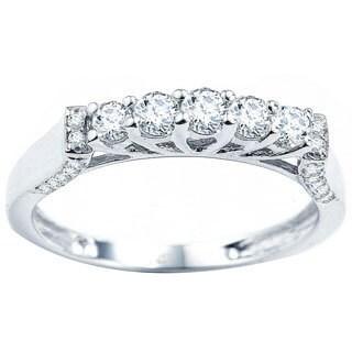 14k White Gold 1/2ct TDW Round Diamond Anniversary Wedding Band Stackable Ring (H-I, I1-I2)