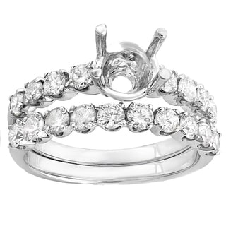 14k White Gold 1ct TDW Round-cut Diamond Bridal Semi Mount Ring Set (H-I, I1-I2)