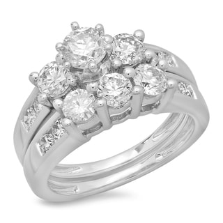 14k White Gold 2 1/4ct TDW Round Cut Diamond Bridal 3-stone Engagement Ring (H-I, I1-I2)