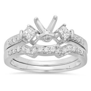 14k White Gold Round & Princess 1/2ct TDW Diamond Ladies Semi Mount Bridal Engagement Ring Set (no stone)