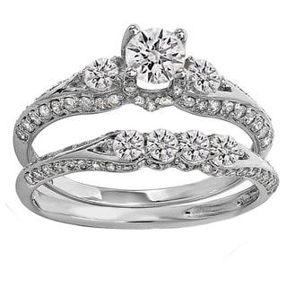 14k Gold Round 1 1/2ct TDW Diamond Ladies 3 Stone Bridal Engagement Ring Set