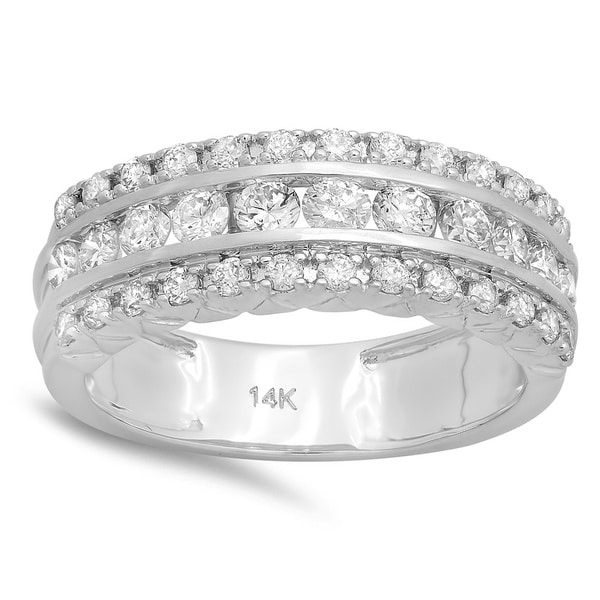 14k White Gold 1ct TDW Round Diamond Bridal Engagement Wedding Anniversary Ri