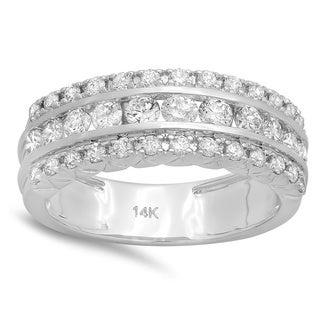 14k White Gold 1ct TDW Round Diamond Bridal Engagement Wedding Anniversary Ring (H-I, I1-I2)