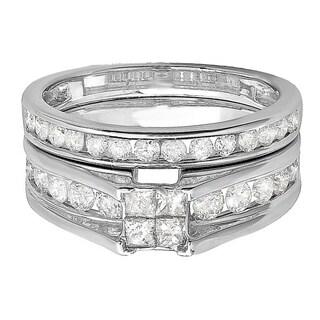14k White Gold Princess Cut 1ct TDW Diamond Bridal Ring Set
