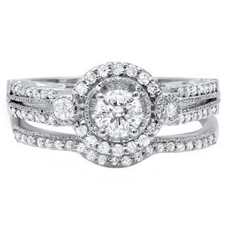 14k White Gold 1ct TDW Diamond Bridal Halo Engagement Ring (I-J, I1-I2)
