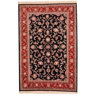 Herat Oriental Indo Hand-knotted Tabriz Navy/ Red Wool Rug (6' x 8'10)