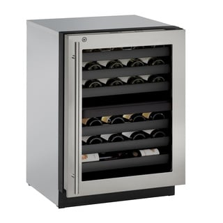 U-Line 3000 Series 3024WC 24 Inch Dual Zone Stainless Steel Wine Captain w/ lock