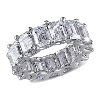 18k White Gold 15 1/10ct TDW Certified Emerald-Cut Diamond Eternity Ring (G-H-I, VVS1-VS2) (GI