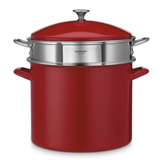 Cuisnart Chef's Red Enamel on Steel 20-Quart Stockpot 3-Piece Set
