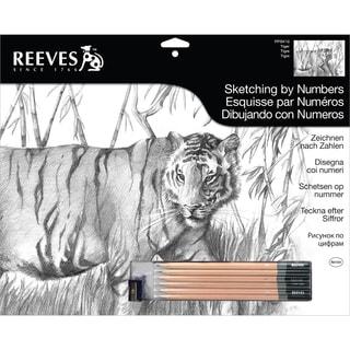 "Sketching By Number Kit 12""X16""-Tiger"