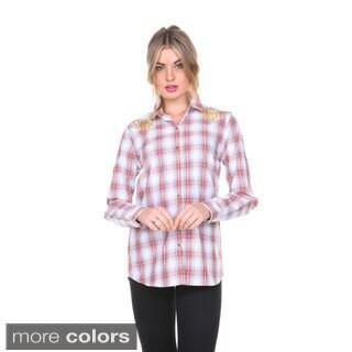 Stanzino Women's Studded Plaid Button-down Shirt