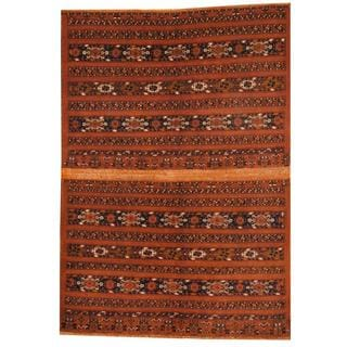 Herat Oriental Afghan Hand-knotted Turkoman Brown/ Navy Wool Rug (5'8 x 8'2)