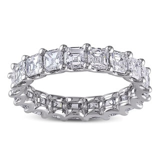 Miadora Signature Collection 18k White Gold 4ct TDW Certified Asscher Cut Diamond Eternity Ring (F-G,VS1-VS2) (IGI)