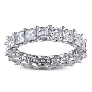 Miadora 18k White Gold 4ct TDW Certified Asscher Cut Diamond Eternity Ring (F-G,VS1-VS2) (IGI)