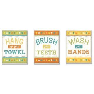 Kid's Hang, Brush and Wash Bathroom Rules Wall Plaque (Set of 3)