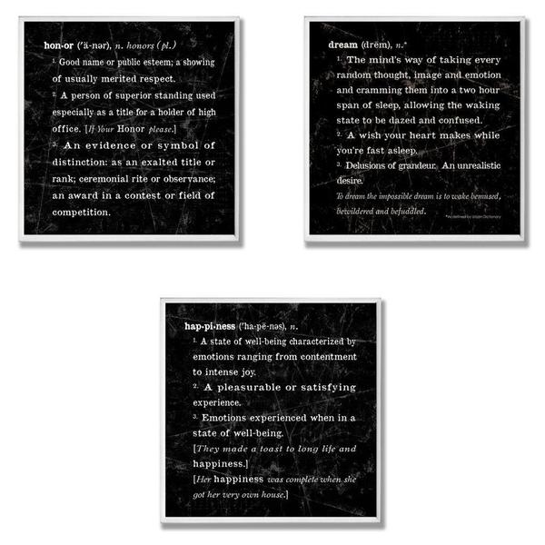Dream, Honor & Happiness Definition Wall Plaque (Set of 3)