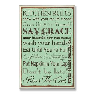 Turquoise Kitchen Rules Wall Plaque