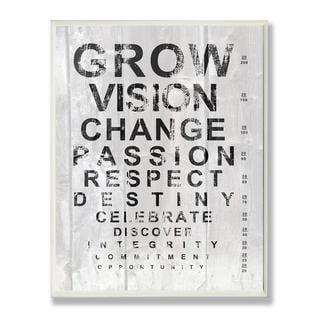 Grow Eye Chart Inspirational Typography Wall Plaque