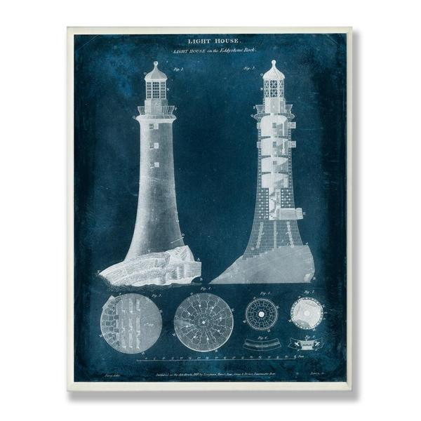 Blue Lighthouse Blueprint Wall Plaque