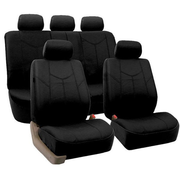 FH Group Black Airbag-compatible PU Leather Seat Covers (Full Set) (As Is Item) 28660177