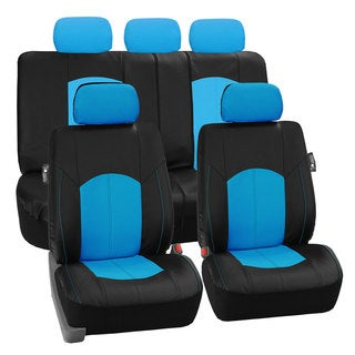 FH Group Blue Perforated Leatherette Auto Seat Covers (Full Set)