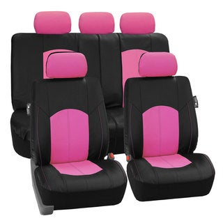 FH Group Pink Perforated Leatherette Auto Seat Covers (Full Set)